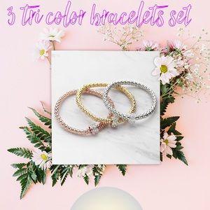 3 tri color bracelets set